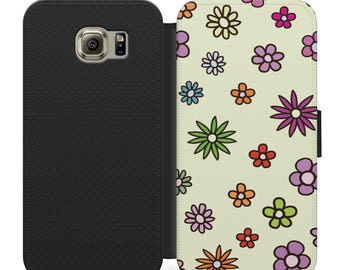 Carton purple red and green flowers flip wallet phone case for iphone 4 5 6 7, Samsung s2 s3 s4 s5 s6 s7 S8 S8 plus and more