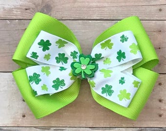 St. Patrick's Day Hair Bows~Shamrock/CloverHair Bow~Layered St. Patrick's Day Bow~Layered Boutique Bow~4 Inch Hair Bow~Green Boutique Bow