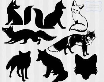 Fox SVG, Fox clipart, fox svg cutting file, fox silhouette, svg design, cuttable file,svg file for silhouette cameo, cricut, dxf,studio file