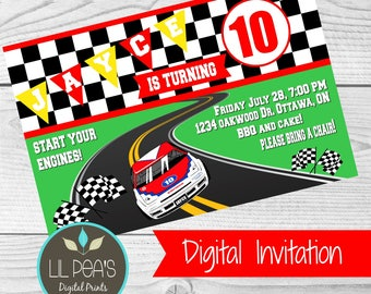 Race Car Birthday Party Invitation, Car Theme Party, Race Car Party, Daytona 500 Party Invitation, Race Car Party,Racing Birthday Invitation