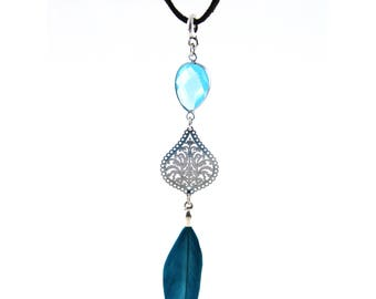 Bohemia chain with spring in turquoise and Kriststallglas boho style