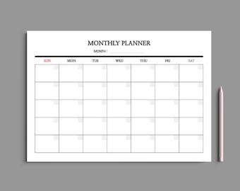 5 Color Printable Monthly Planner A4 / Monthly Planner Printable / Monthly Calendar / Desk planner / Undated / #201