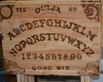 Hand made wood burned Ouija Board