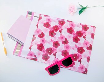 """10 - 10 x 13"""" Flower Poly Flat Mailers Hibiscus Poly Floral Pink White Design Shipping Supplies Flat Self Seal"""