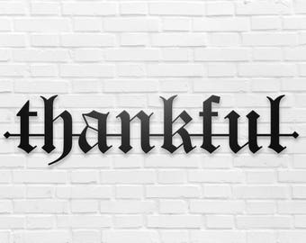 "Thankful Metal Wall Sign Art, Home Decor Gift 18""x4.5"" Wood,vein,color options"