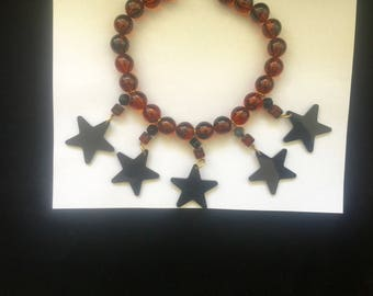 LUCITE ALL STAR necklace tortoise beads