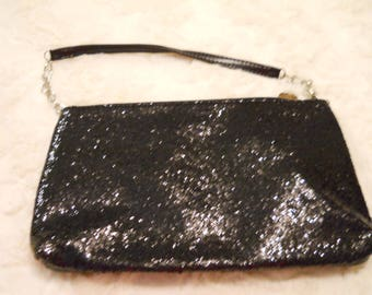 Little Black Sparkley Evening Bag Small Clutch with Strap