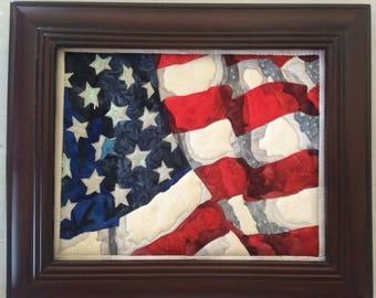 Waving US Flag Batik Painting