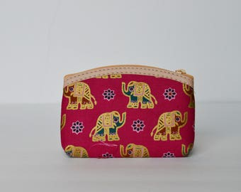 Pink and Gold Elephant coin purse