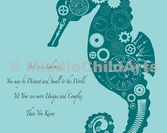 Steampunk SeaHorse Print - Instant Download
