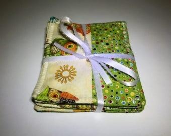 Owl Coasters | Owls | Square Coasters | Set of Four Coasters | Reversible Fabric Coasters
