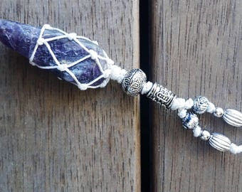 Rustic Silver White Amethyst Beaded Macrame Necklace