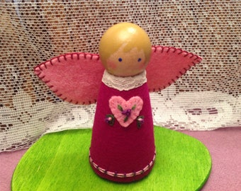 Dark Magenta and Rose Pink Heartfelt Peg Doll