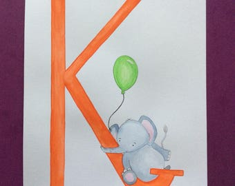 Hand painted watercolour letter and animal perfect for children's bedrooms