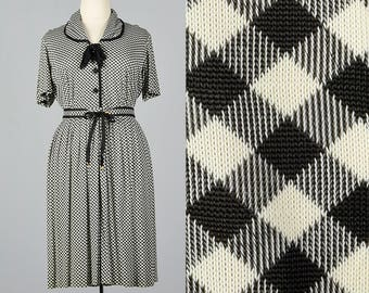 3XL 1950s Black White Gingham Dress Casual Day Dress Short Sleeves Belted Waist Day Wear Plus Size Volup 50s Vintage