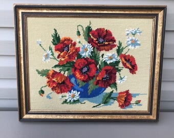 Vintage Bohemian Mid Century Cross Stitched Floral Picture | Poppy | Daisy