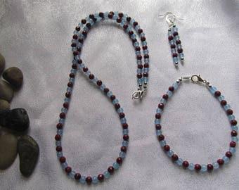 Aquamarine and Ruby Jewelry Set