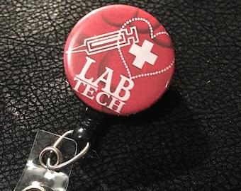 Lab tech name badge holder