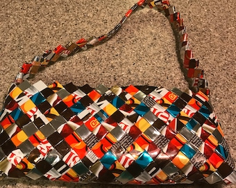 Eye Candy; Foil Candy Wrapper Purse in the style of Nahui Ollin
