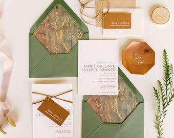 PARKER SUITE - Letterpress Wedding Invitations, Copper Foil, Modern Wedding