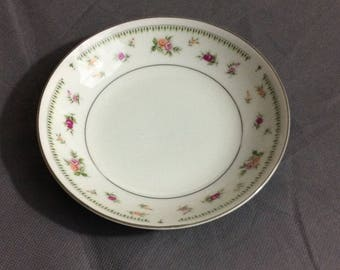 Vintage Abingdon Fine Porcelain China White with Pink & Orange Roses Berry Bowl Made in Japan
