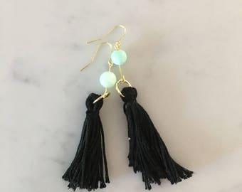 Black Short Fringe with Blue Bead