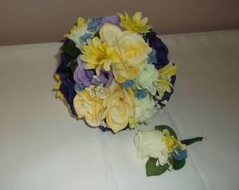 Pre Made Purple/Yellow/Ivory Wedding Bride & Groom Bouquet