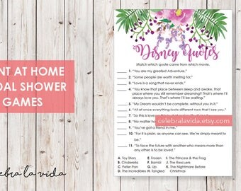 Disney Love Quotes Bridal Shower Game. Instant Download. Printable Bridal Shower Game. Pink and Purple Flowers. - 03