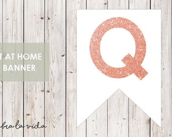 DIY Banner - 'Q'. Instant Download. Printable Banner Letters. Pink Glitter. - 01