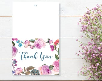 Thank You Card. Instant Download. Printable Thank You Card. Pink Flowers. Pink and Blue - 06