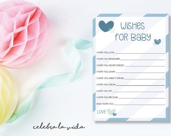Instant Download Wishes for Baby. Baby Shower Game. Printable Baby Boy Shower Game. Blue