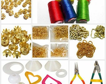 Silk thread jewellery making materials kit with threads,all decoration materials,findings & tools