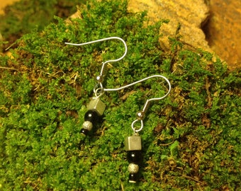 Silver Square and Round Black Beaded Earrings