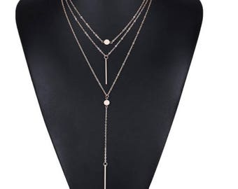 Women Necklaces & Pendants 3 multi layer Necklace Tassel Charm Bar statement Necklace for Women gift
