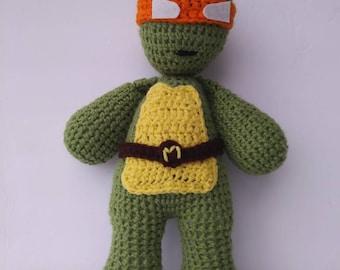 "Hand-made crochet 16"" tmnt inspired Michelangelo orange ninja turtle yarn doll plush"