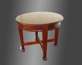 Rare Antique Round Roycroft Mahogany Table W1982 (Stickley Era)