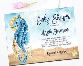 seahorse invitation seahorse baby shower invitation beach invitation baby shower invite beach