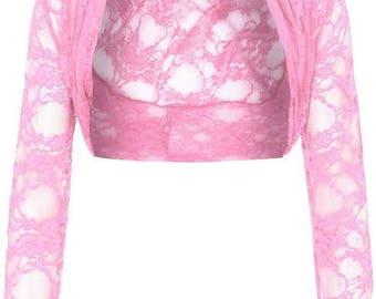 CUTE short lace shrug & bolero long sleeves size 8-22
