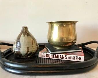 vintage brass planter, round brass pot, vintage brass, brass decor, brass planters, brass vase, brass accents