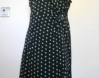 Alfani women's cap sleeve v-neck stretch dress polka dots size S