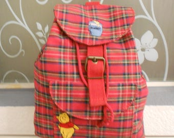 The Disney Store kids' backpack red checker pattern/Draw string for adjustment/Snap button with buckle/Adjustable straps