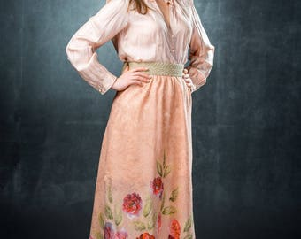 Felted skirt Spring the floor-length from merino wool and silk size M