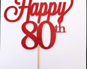Happy Birthday Cake Topper| Custom Age Topper| Glitter Cake Topper|Custom Cake Topper| 40th Birthday | 50 Birthday