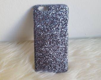 Gunmetal Black Glitter iPhone Hard Case For 5/5S/SE,  6/6S, 6/6S Plus, 7 & 7 Plus