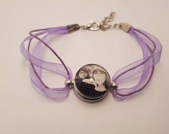Purple button pressure, custom photo bracelet, cabochon