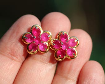 Gold Tone 3.5mm Round Cut Red Ruby Floral Stud Earrings