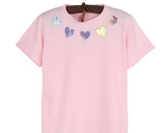 Holographic Heart Shirt Harajuku