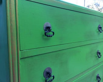 SOLD - Beautiful vintage green chest of drawers
