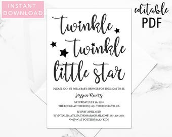 Twinkle Twinkle Little Star Baby Shower Invitation, Baby Shower, Baby Shower Invite, Gender Neutral, Baby Shower, Printable Invitation