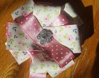 Dainty pink flower hair clip